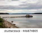 little cozy house on the pier...   Shutterstock . vector #446874805