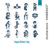 happy mothers day simple flat...   Shutterstock . vector #446883637