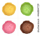 Stock photo four isolated ice cream scoops from top on white background 446884729