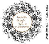 invitation with floral... | Shutterstock . vector #446885869