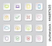 colorful line web icon set on...