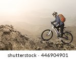 female biker riding on bicycle... | Shutterstock . vector #446904901