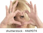 blond haired girl make heart... | Shutterstock . vector #4469074