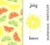watercolor lemon set. citrus... | Shutterstock .eps vector #446914159