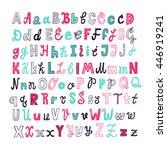 hand drawn alphabet letters.... | Shutterstock .eps vector #446919241