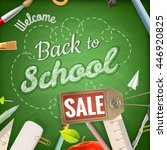 back to school sale background. ... | Shutterstock .eps vector #446920825