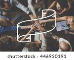 teamwork hanging out party...   Shutterstock . vector #446930191