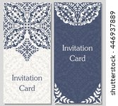 two vintage greeting cards. | Shutterstock .eps vector #446937889