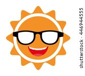 yellow abstract sun icon with... | Shutterstock .eps vector #446944555