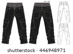 cargo pants vector template | Shutterstock .eps vector #446948971
