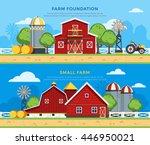 two farm flat horizontal... | Shutterstock .eps vector #446950021