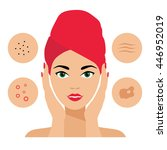 facial care and treatment. skin ... | Shutterstock .eps vector #446952019