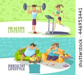 healthy and unhealthy people... | Shutterstock .eps vector #446953441