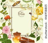 herbal tea frame with linden... | Shutterstock . vector #446958805