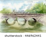 watercolor old stone arch... | Shutterstock . vector #446962441