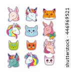 animal patches set  colorful... | Shutterstock .eps vector #446969521