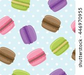 seamless pattern with macaroons ... | Shutterstock . vector #446970955