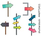 vector set of direction post   Shutterstock .eps vector #446971411
