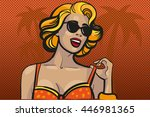 blond woman in a sunglasses on... | Shutterstock . vector #446981365
