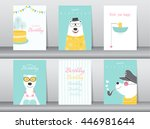Set of birthday cards,poster,invitation cards,template,greeting cards,animals,bears,Vector illustrations