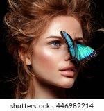 make up. blonde hair. exotic... | Shutterstock . vector #446982214