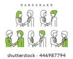 businesspeople handshake  ... | Shutterstock .eps vector #446987794