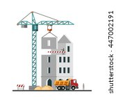 construction. building a house. ... | Shutterstock .eps vector #447002191