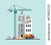 construction. building a house. ... | Shutterstock .eps vector #447002215