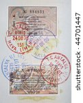 page of passport with turkish... | Shutterstock . vector #44701447