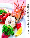 Small photo of delicious phuket lobster thermidor salad, closeup for design work