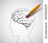 pencil erases the human brain.... | Shutterstock .eps vector #447032029
