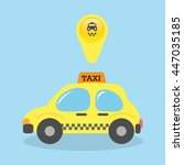 taxi car cartoon vector... | Shutterstock .eps vector #447035185