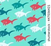 shark.vector seamless pattern...   Shutterstock .eps vector #447036421