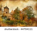 Chillion castle - artistic picture in retro style - stock photo
