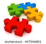 puzzle 3d illustration | Shutterstock . vector #447046801