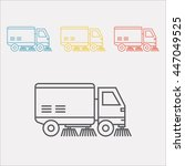 street sweeper truck line icon | Shutterstock .eps vector #447049525