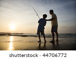 father and son fishing in ocean ... | Shutterstock . vector #44706772