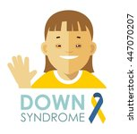 down syndrome concept. smiling... | Shutterstock .eps vector #447070207