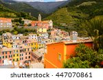 aerial view of vernazza ... | Shutterstock . vector #447070861