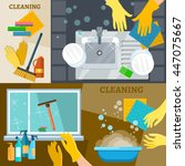 cleaning service banners hand...   Shutterstock .eps vector #447075667