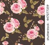 english roses seamless | Shutterstock .eps vector #447077359