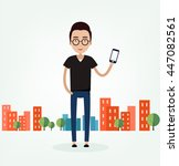 the guy with the phone in the... | Shutterstock .eps vector #447082561