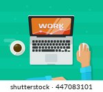 person working on computer... | Shutterstock .eps vector #447083101
