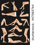 woman legs in different poses... | Shutterstock .eps vector #447083764
