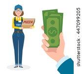 money for delivery. female... | Shutterstock .eps vector #447099205