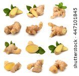 Small photo of fresh ginger on white bakground Clipping Path