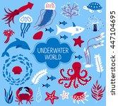 set of underwater animals.... | Shutterstock .eps vector #447104695