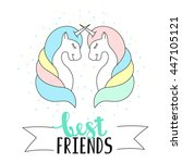 best friends lettering with... | Shutterstock .eps vector #447105121