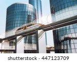 concept of magnetic levitation... | Shutterstock . vector #447123709