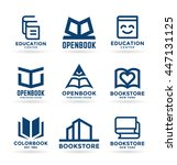set of book symbols and logo... | Shutterstock .eps vector #447131125